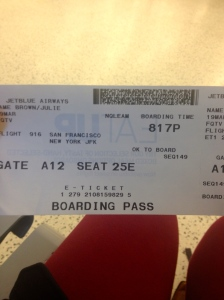 My ticket for my red-eye to New York